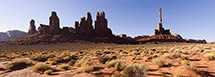 Totem Pole and Five Fingers in Early Morning Light, Monument Valley, AZ