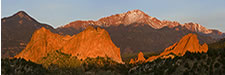 Early Light Panorama of the Garden of the Gods and Pike's Peak, Colorado Springs, CO