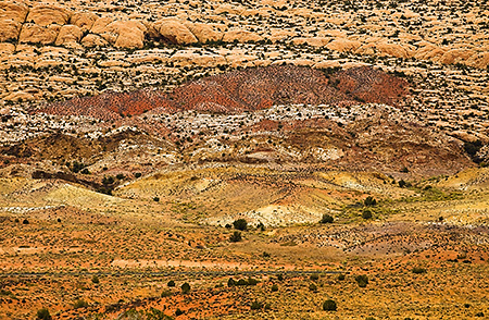 Multi-color Hillside at Arches National Park, UT
