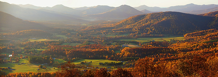 Early Fall Morning Panorama from the Blue Ridge Parkway, Nelson County, VA